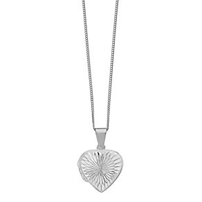 Sterling Silver Diamond Cut Heart Shaped Locket - Product number 2296888