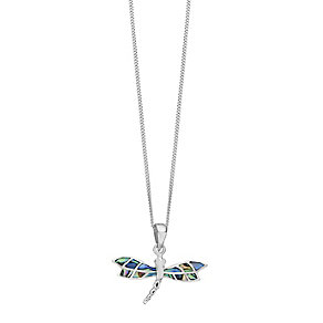 Sterling Silver Abalone Shell Dragonfly Pendant - Product number 2296896