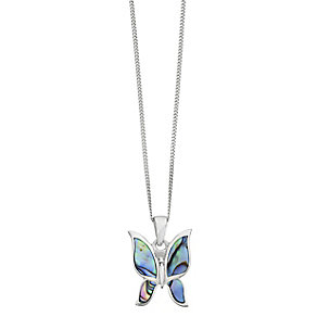 Sterling Silver Abalone Shell Butterfly Pendant - Product number 2296918