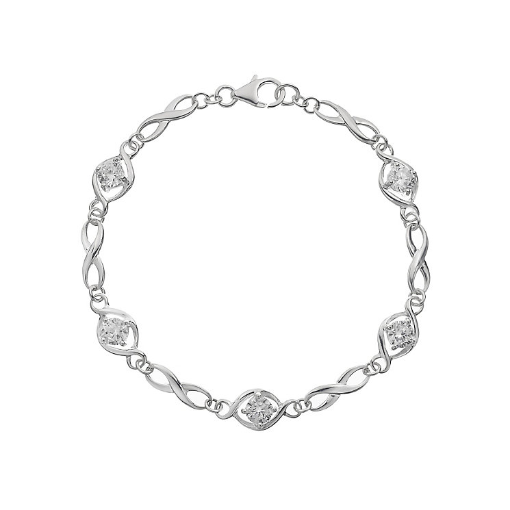 Sterling Silver Cubic Zirconia Figure of Eight Bracelet - Product number 2296950