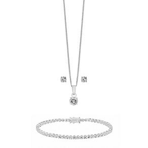 Silver & Cubic Zirconia Earring Pendant & Bracelet Set - Product number 2297051