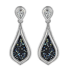 Sterling Silver Textured Crystal Pear Shaped Drop Earrings - Product number 2297477