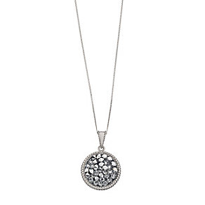 Sterling Silver Grey Crystal Round Pendant - Product number 2297493