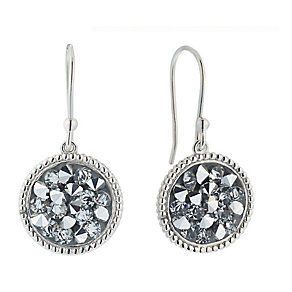 Sterling Silver Grey Crystal Round Drop Earrings - Product number 2297531