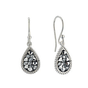 Sterling Silver Pear Shaped Grey Crystal Drop Earrings - Product number 2297558