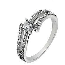 Sterling Silver Cubic Zirconia Split Shoulder Solitaire Ring - Product number 2297922