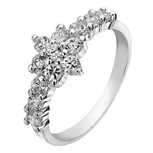 Sterling Silver Flower Cluster Cubic Zirconia Solitaire Ring - Product number 2297981