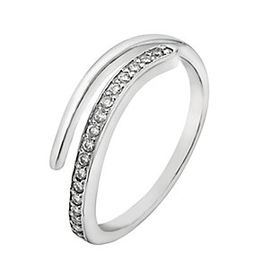 Sterling Silver Cubic Zirconia Crossover Ring - Product number 2298066
