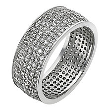 Sterling Silver & Pave Set Cubic Zirconia Band Ring - Product number 2298449
