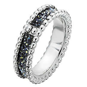 Sterling Silver Textured Crystal Band Ring - Product number 2298546