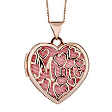 "9ct Rose Gold Mum Filigree Heart 18"" Locket - Product number 2300850"