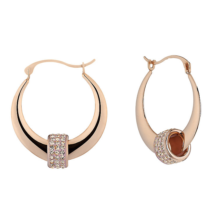 9ct Rose Gold & Champagne Crystal Beaded Creole Earrings - Product number 2300885