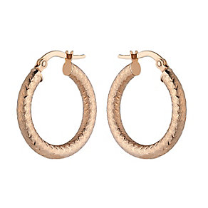 9ct Rose Gold Fancy Textured Creole Earrings - Product number 2300893