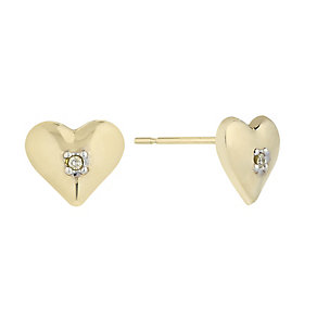 9ct Yellow Gold & Diamond Accent Heart Stud Earrings - Product number 2300958