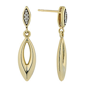 9ct Yellow Gold & Diamond Accent Oval Drop Earrings - Product number 2300966