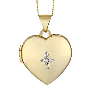 9ct Yellow Gold & Diamond Accent Heart Locket - Product number 2301024