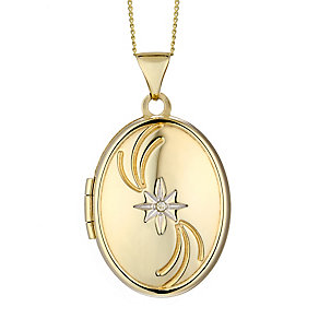 9ct Yellow Gold & Diamond Accent Oval Star Locket - Product number 2301032