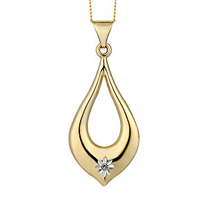9ct Yellow Gold & Diamond Accent Teardrop Pedant - Product number 2301059