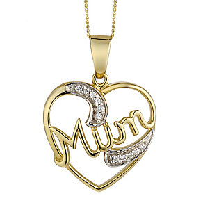 9ct Yellow Gold & Diamond Accent Mum Pedant - Product number 2301067