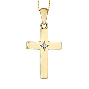 9ct Yellow Gold & Diamond Accent Cross Pedant - Product number 2301075
