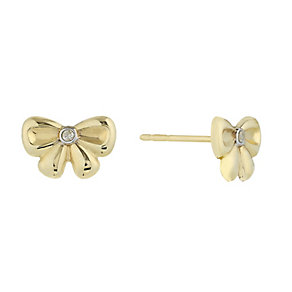9ct Yellow Gold & Diamond Accent Bow Stud Earrings - Product number 2301083