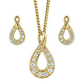 Lumiere Gold Plate Swarovski Elements Earring & Pendant Set - Product number 2301113