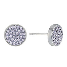 Evoke Silver & Purple Swarovski Elements Round Stud Earrings - Product number 2301148