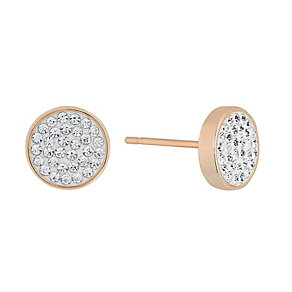 Evoke Rose Gold Plate Swarovski Elements Round Stud Earrings - Product number 2301229