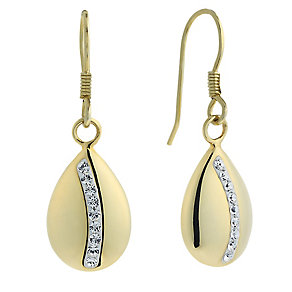 Evoke Silver & Gold Plated Crystal Set Oval Drop Earrings - Product number 2301318
