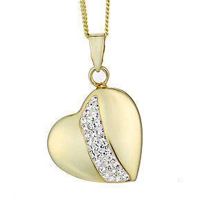 Evoke Silver & Yellow Gold Plated Crystal Set Heart Pendant - Product number 2301326