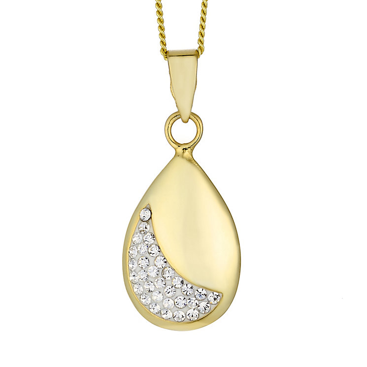 Evoke Silver & Yellow Gold Plated Crystal Set Oval Pendant - Product number 2301334