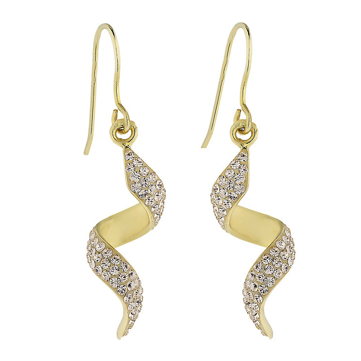 Evoke Silver & Yellow Gold Plated Crystal Set Twist Earrings - Product number 2301377