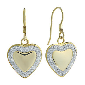 Evoke Silver & Gold Plated Crystal Heart Drop Earrings - Product number 2301385