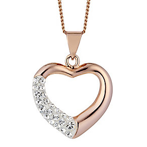 Evoke Silver & Rose Gold Plated Crystal Set Heart Pendant - Product number 2301393