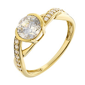 Silver & Yellow Gold Plate Swarovski Zirconia Solitaire Ring - Product number 2301407
