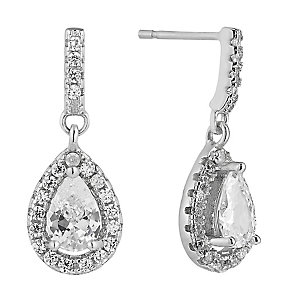 Silver & Cubic Zirconia Pear Shaped Statement Drop Earrings - Product number 2301806