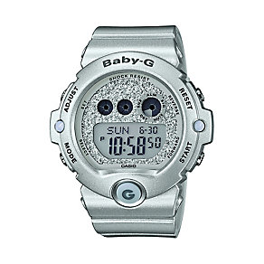 Casio Baby-G Ladies' Silver Tone Glitter Digital Watch - Product number 2302098