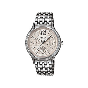Casio Sheen Ladies' Stainless Steel Crystal Set Watch - Product number 2302403