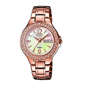Casio Sheen Ladies's Mother Of Pearl Rose Gold Tone Watch - Product number 2302462