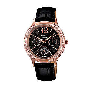Casio Sheen Ladies' Rose Gold Tone Black Leather Watch - Product number 2302500