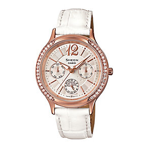 Casio Sheen Ladies' Rose Gold Tone Black Leather Watch - Product number 2302519
