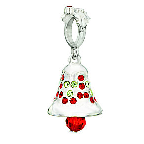Chamilia silver red & green crystal Holiday Bell charm bead - Product number 2303027