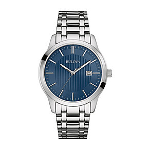 Bulova Men' Blue Dial Stainless Steel Bracelet Strap Watch - Product number 2303299