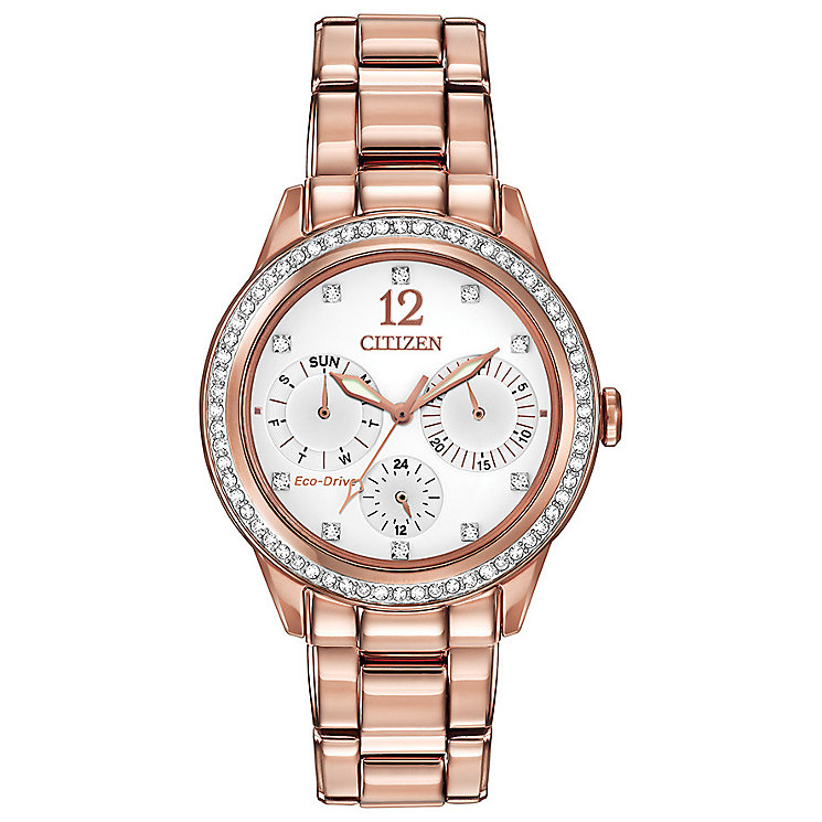 Citizen Eco Drive Ladies' Crystal Set Rose Gold Tone Watch - Product number 2305542