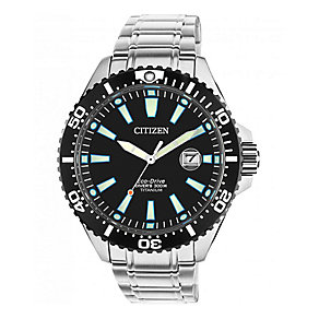 Citizen Men's Black Dial Silver Titanium Bracelet Watch - Product number 2305577