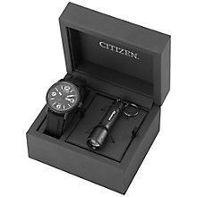 Citizen Eco Drive Men's Black Watch & Torch Set - Product number 2305674