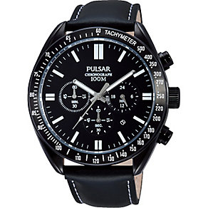Pulsar Men's Black Dial & Black Leather Strap Watch - Product number 2305720