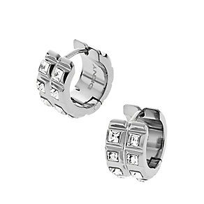 DKNY Stainless Steel Clear Crystal Huggie Hoop Earrings - Product number 2305860
