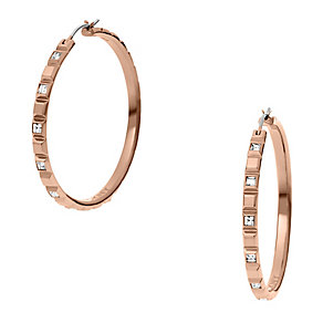 DKNY Rose Gold Tone Crystal Set Hoop Earrings - Product number 2305968