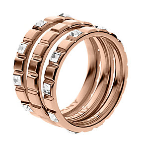 DKNY Rose Gold Tone Crystal Set Triple Stacker Rings - Product number 2305984